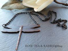 Dragonfly Pendant Necklace  Antiqued Blackened by RoseTeaAndRabbit https://www.etsy.com/uk/listing/263811006/dragonfly-pendant-necklace-antiqued?ref=shop_home_active_1