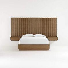 Bagian dari sistem penyimpanan modular Rupa yang hemat ruang, lima panel belakang Rupa berpalang membuat latar belakang yang sempurna untuk tempat tidur alas alas Rupa dan sepasang nightstand mengambang. Terbuat dari kayu jati yang indah dengan finishing natual, komponen-komponennya digabungkan dalam pengaturan yang dapat disesuaikan. Tambahkan pada rak dan kait Rupa untuk lebih banyak opsi penyimpanan. Bed Furniture, Unique Furniture, Custom Furniture, Platform Bed Designs, Platform Beds, Modular Storage, Scandinavian Bedroom, Bed Base, Organic Modern