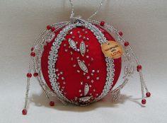 Shabby Chic Christmas Ball 31 by ShabbyChicXmas on Etsy Christmas Balls, Christmas Tree Ornaments, Styrofoam Ball, Shabby Chic Christmas, Fabric Beads, Holiday Decor, Etsy, Christmas Baubles, Christmas Tree Toppers