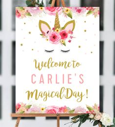Editable Unicorn Birthday Party Welcome Sign - Pink Gold Glitter - Printable - Personalize Instantly