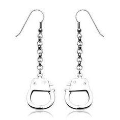 Under Arrest Earrings - Hook Style with Dangling Handcuffs Design Stainless Steel Earrings