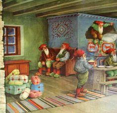 1940's Original Vintage Erik Forsman Christmas Elves Swedish Poster