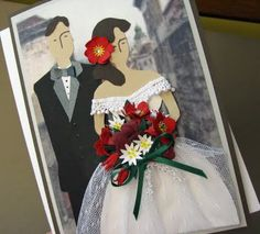 A really cool paper-pieced card combining cultural features of Spain, Austria and the US. More info is at the blog post: http://cornerstonelae.blogspot.com/2011/07/international-wedding.html