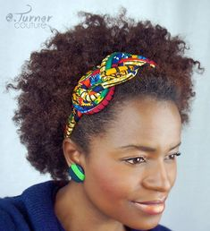 Multicolored Sailors Knot Headband African Hair by ETurnerCouture African Hair Wrap, African Girl, African Necklace, African Jewelry, Fabric Jewelry, Hair Jewelry, Multicolored Hair, African Accessories, Fabric Headbands