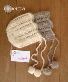 Handmade Newborn Photo Props Bonnet Wool Alpaca di RobertaKnits