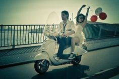 Love this photo! I want to re-enact it on my husband's Vespa but alas it is no more… Vespa Wedding, Photoshoot Inspiration, Wedding Inspiration, Eclectic Wedding, Printed Balloons, Engagement Pictures, Engagement Humor, Bridal Musings, Wedding Poses