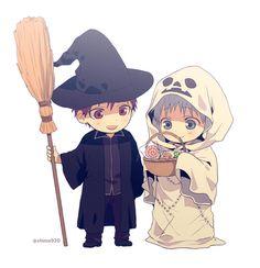 Chibi Kuroko and Akashi trick or treating together! Kuroko No Basket, Kawaii Chibi, Cute Chibi, Manga Boy, Anime Manga, Anime Nerd, Manga Halloween, Happy Halloween, Blade Runner