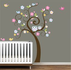 Children Wall Decal Wall Sticker - with Owls Birds Flowers. $99.00, via Etsy.