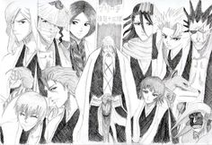 Bleach : Gotei13 captains (pencil drawing) by O-ha-na on deviantART