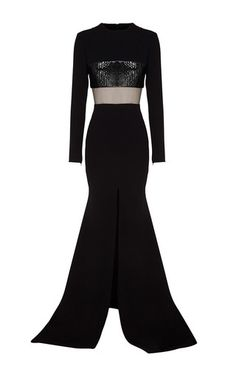 Cammi Plastic & Satin Crepe Long Sleeve Fishtail Gown by ALEX PERRY for Preorder on Moda Operandi