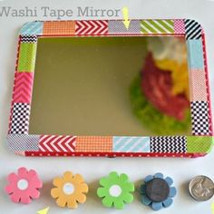 Dress up a magnetic locker mirror with some stylish Washi tape. | 23 Ways To Have The Coolest Locker In School