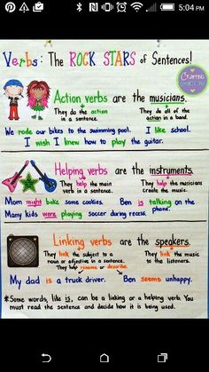 Crafting Connections: Types of Verbs Anchor Chart (with a freebie! Teaching Verbs, Teaching Writing, Student Teaching, Teaching Ideas, Types Of Verbs, Linking Verbs, 3rd Grade Writing, Writing Anchor Charts, Action Verbs
