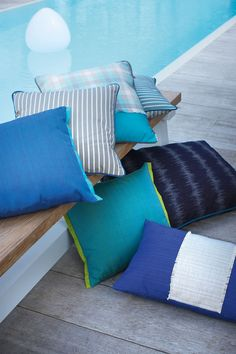 Cushions made with Sunbrella® indoor & outdoor 2015 2017 fabrics - pool tartan jacquard wood Cool Fabric, Indoor Outdoor, Upholstery, Sewing Projects, Cushions, Throw Pillows, Cool Stuff, Bed, Tartan