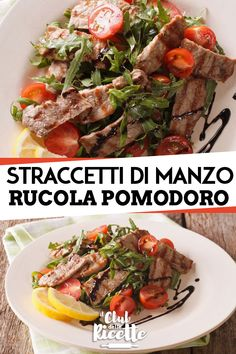 The Straccetti di Manzo with Rucola and Pomodorini are a tasty second course of light meat that is p Cena Light, Cooking Recipes, Healthy Recipes, Best Dinner Recipes, Light Recipes, Vegetable Dishes, Cherry Tomatoes, Food Inspiration, Italian Recipes