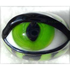 Lampwork Tiger Striped Lizard Green Glass Eye Bead - Jinx Garza.