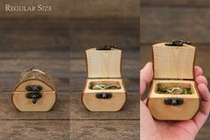A handmade box perfect for a forest wedding, engagement, to hold a special  gift, or for a child's tooth fairy box. These ring boxes are cut from a  single branch of sustainably sourced timber. The bark is left attached for  a natural look and each box has an antiqued brass latch and hinge.  Th