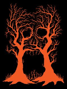 Tree branches forming a screaming skull.  A T-Shirt design for my KickStarter project