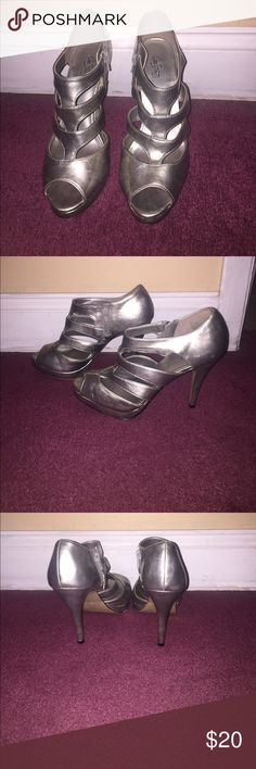 """Silver heels 4"""" silver heels with zipper on inside; only worn once for a wedding! Shoes Heels"""