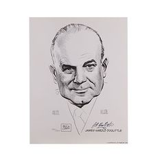 """Jimmy Doolittle Signed Portrait Limited Edition  We are pleased to offer this Limited Edition Portrait created by aviation artist Milton Caniff. Each portrait was autographed by Jimmy Doolittle and supply is very limited. Portrait is accompanied by a Certificate of Authenticity and a free one year membership to the National Aviation Hall of Fame in Dayton, Ohio. Prints measures 8.5""""h x 11""""w."""