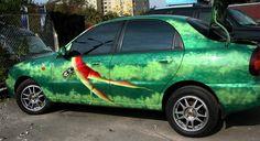 airbrush, painting, car, daewoo lanos, watermelon, green