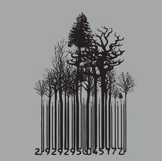 barcode forest by Kate Widdows, via Behance barcode forest by Kate Widdows, via Behance Barcode Art, Barcode Tattoo, Barcode Design, Graffiti Tattoo, Banksy Graffiti, Metamorphosis Art, Event Poster Template, Street Art, Nature Posters