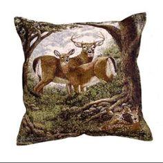 """17"""" Hidden Eyes Deer Family Tapestry Throw Pillow Walmart"""