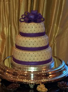 Purple, White and Gold theme 3 Tier Wedding Cake. Event Planning, Wedding Planning, Wedding Ideas, Social Events, Corporate Events, 3 Tier Wedding Cakes, Event Marketing, Event Management, Bar Mitzvah