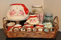 hot chocolate station - cute. I want some of these old Santa cups.