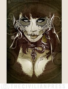 Ophidia Tattoo Art Print with Dia De Los Muertos Elements.  Art by Tonymash.