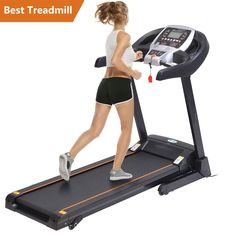 Ancheer Portable Electric Motorized Running Treadmill Machine Indoor Commercial Health Fitness Training Equipment [US x x inch(L X W X H)-Black, Black Electric Treadmill, Folding Treadmill, Running On Treadmill, Treadmill Workouts, Running Workouts, Running Training, Running Machines, Workout Machines, Treadmill
