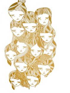 screen print poster print metallic gold- Pretty Little Thieves Art And Illustration, Illustrations, Screen Print Poster, Poster Prints, Gold Girl, Girl Posters, Screen Printing, Whimsical, Graphic Design