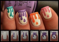 dripping paint nail art step by step - Google Search