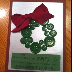 Christmas card- wreath made from buttons - homemade craft ideas