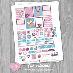 Foxy Valentine Planner Stickers | Free Printable for Erin Condren Planner