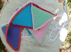 Banderines Básicos Algodón Tejidos A Mano Al Crochet Multicolor