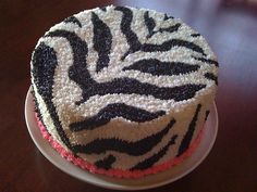 I'm going to make this for my birthday!  Go me!!! zebra cake with frosting instead of fondant