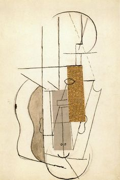 Picasso. collage of still life with violin (upside down version of Head, 1913, see below).