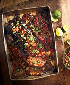 brisket with chilli, lime, peanut and coriander Try our slow-cooked beef brisket recipe made with a fresh ginger, chilli and chinese five spice sauce.Try our slow-cooked beef brisket recipe made with a fresh ginger, chilli and chinese five spice sauce.
