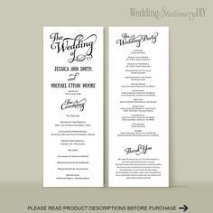 Printable Script wedding programs DIY by WeddingstationeryDIY Diy Wedding Program Template, Diy Wedding Programs, Jessica Ann, Vows, Color Change, Script, Printables, Templates, Script Typeface