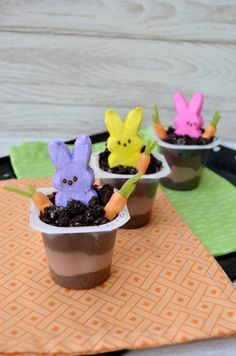 Pin for Later: Peeps! 32 Fun Ways to Use the Marshmallow Treats This Spring Peeps Pudding Cups Let your Peeps enjoy the Spring in their very own gardens as they dig up yummy carrots from the patches of Oreo dirt.