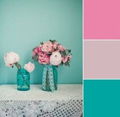 Turquoise Blush and Pink Wedding Centerpiece Photo From Love My Dress and Marianne Taylor Photography shop wedding flowers and wedding decor at DIY wedding wedding colors Bedroom Color Schemes, Bedroom Colors, Colour Schemes, Fuschia Bedroom, Turquoise Centerpieces, Pink Wedding Centerpieces, Turquoise Decorations, Blush Centerpiece, Turquoise Girls Rooms