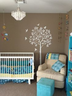 Ollies nursery, A modern vintage, gender neutral nursery with cappucino walls and accent colors of turquoise and yellow., A modern vintage nursery.    , Nurseries Design