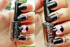 Cute but sexy nail design with bow knot nail decoration!