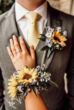 sunflower wrist corsage and boutonniere Sunflower Corsage, Sunflower Boutonniere, Prom Corsage And Boutonniere, Wrist Corsage, Boutonnieres, Corsages, Prom Bouquet, Hoco Dresses, Dance Dresses