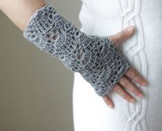 Lace Gloves, Fingerless crocheted hand wrist arm warmers in grey