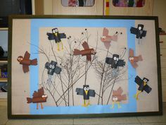Projects For Kids, Art Projects, Winter Art, Art Activities, Art School, Diy And Crafts, Kindergarten, Bird, Frame