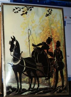 VINTAGE REVERSE PAINTED CONVEX  GLASS SILHOUETTE PICTURE HORSE  CARRIAGE Vintage Silhouette, Silhouette Art, Silhouette Pictures, Diy And Crafts, Arts And Crafts, Horse Carriage, Tins, Ephemera, Silhouettes