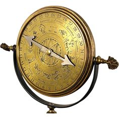 Interesting brass perpetual calendar on a stand with an emphasis on the Zodiac signs. Large 5-7/8 wide dial has the numbered days on the outside, the