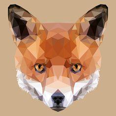 Geometric Fox Face Design