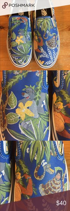 Disney x Vans jungle book (men's sizing) Jungle book themed slip ons. Men's size 7.5, women's size 9 nwot All Disney products are genuine. Vans Shoes Loafers & Slip-Ons